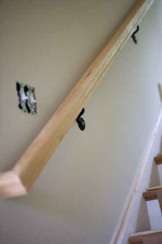Let's grab my new sweet handrail and head upstairs!