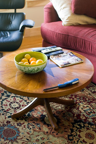 New round coffee table from Dustin at The Juniors at The World Trade Center Furniture Shop or something.